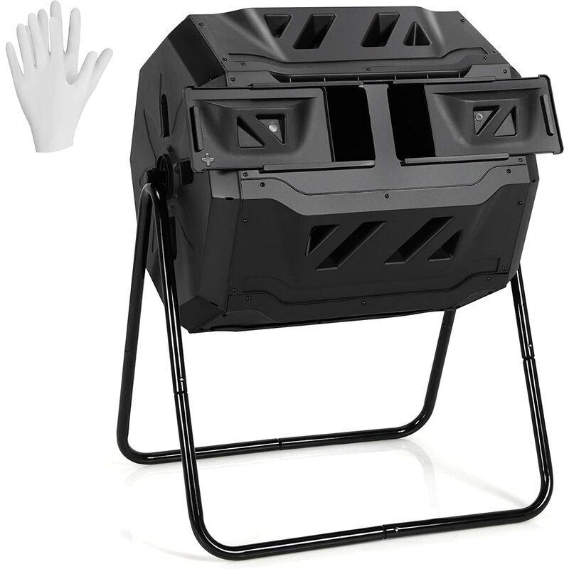 COSTWAY Composteur de Jardin Portable 160 L en PP avec Double Chambre Rotatif 2 Portes Coulissantes 2 Gants Système d'Aération Noir - Costway