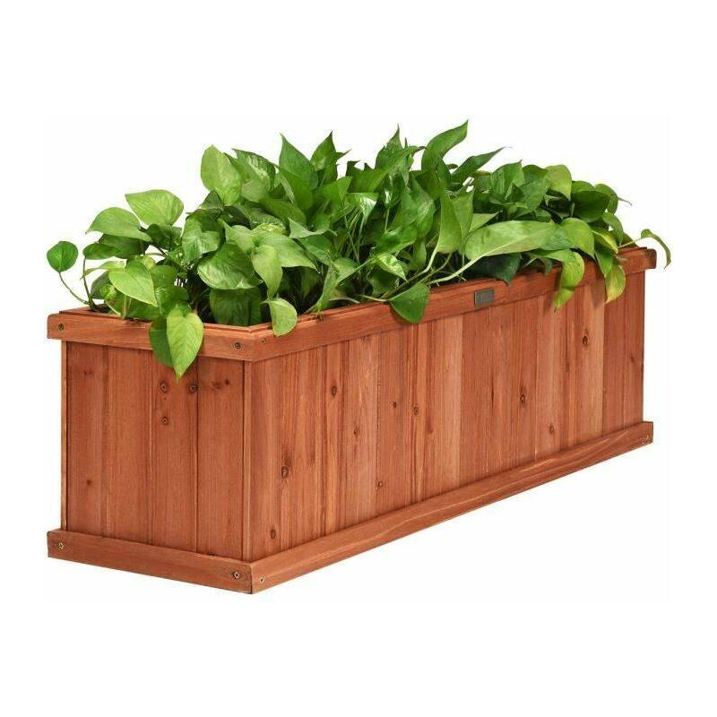 COSTWAY Jardinière en Bois Rectangulaire 102 x 31 x 30 cm Bac à Fleurs/ Légumes avec Garde-corps Jardin Balcon Charge 10KG Marron - Costway