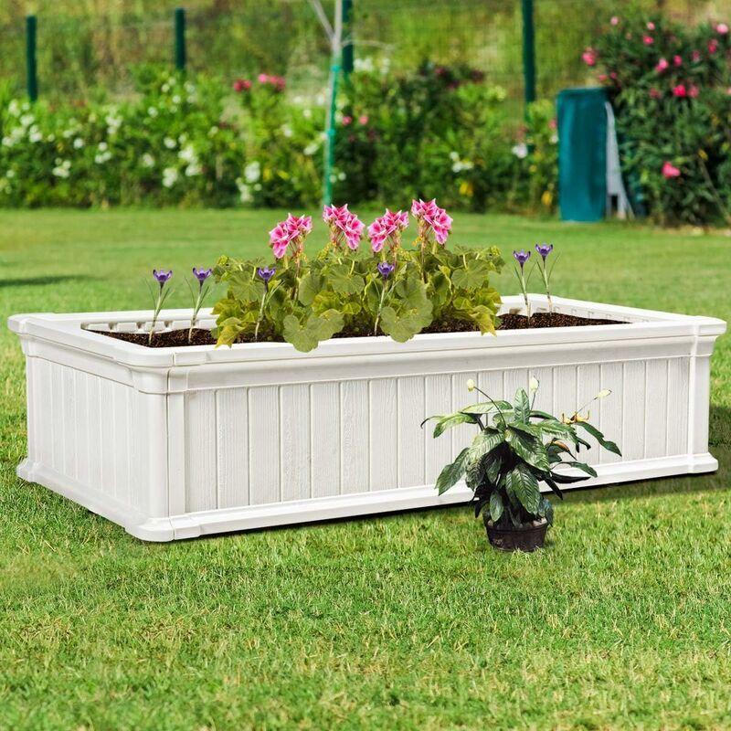 COSTWAY Jardinière en Plastique Bac à Plantes Rectangulaire pour Légumes et Fleurs, Bac à Fleur Pousse pour Jardin, Facile et Rapide à Assembler avec Clous
