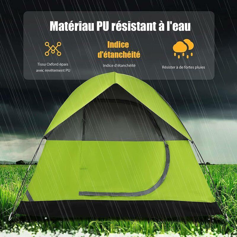 COSTWAY Tente de Camping Double Couche Tissu Oxford Imperméable Sac 2 Cordes Coupe-vent 4 Personnes - Costway