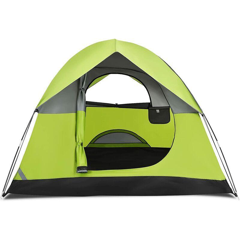 COSTWAY Tente de Camping Double Couche Tissu Oxford Imperméable Sac 2 Cordes Coupe-vent 2 Personnes - Costway