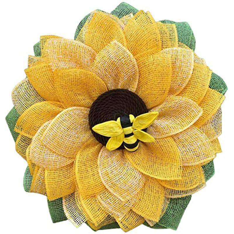 ECHOO Couronnes de porte en forme d'abeille - 35,6 cm - Fleurs artificielles - Couronne de fleurs en soie - Couronne de printemps d'été pour porte