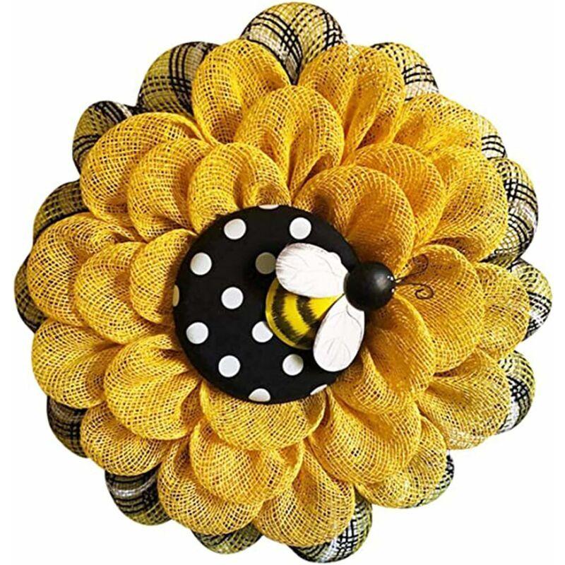 ECHOO Couronnes de porte en forme d'abeille - 35,6 cm - Fleurs artificielles en soie - Couronnes de fleurs de printemps d'été pour porte d'entrée,