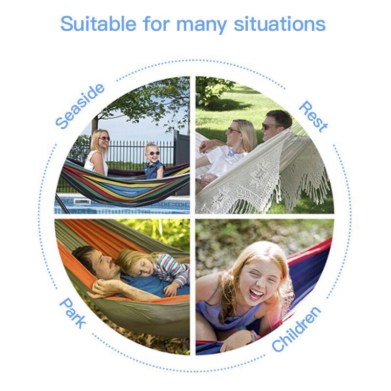 DazHom® Toile épaissie et élargie + sac en tissu hamac simple et double intérieur et extérieur 250 * 110 * 100cm
