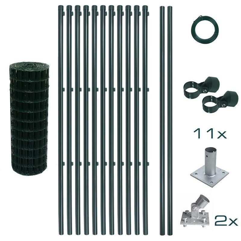 ESTEXO Set complet de clôture en treillis soudé 0,80 x 25 m Set de clôture de jardin