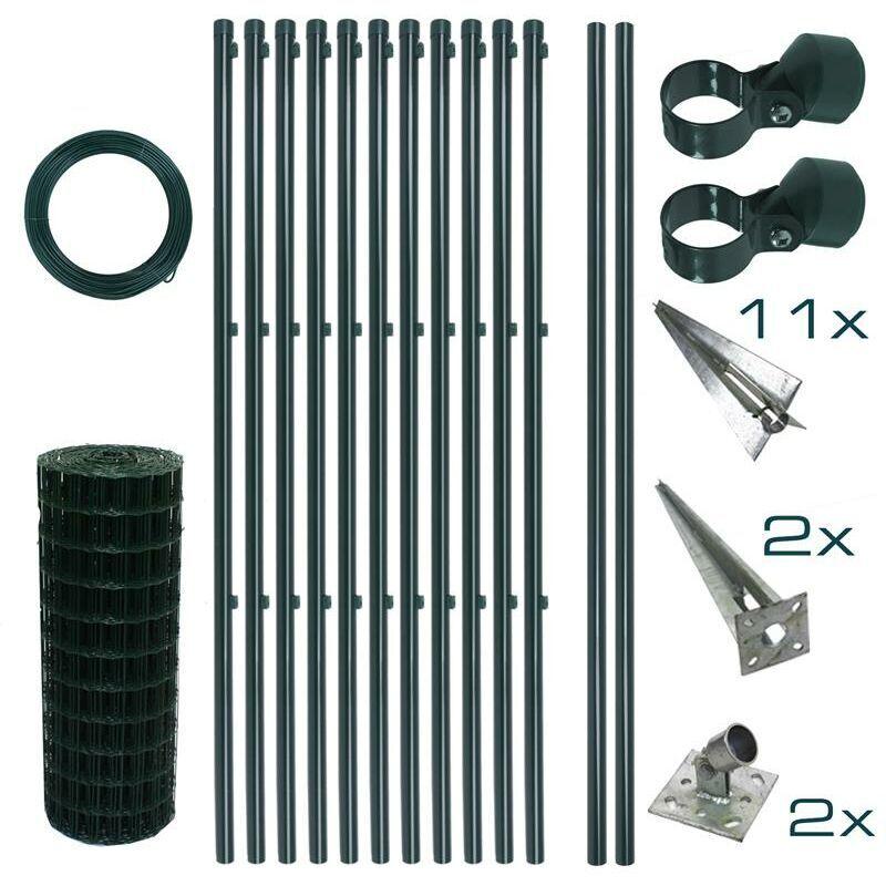 ESTEXO Ensemble complet de clôture en treillis soudé Ensemble de clôture de 0,80 x 25 m