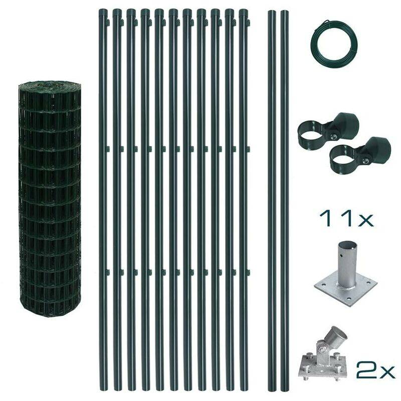 ESTEXO Ensemble complet de clôture en treillis soudé Ensemble de clôture de 1,00 x 25 m