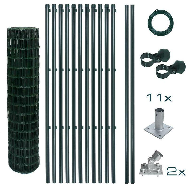 ESTEXO Ensemble complet de clôture en treillis soudé Ensemble de clôture de 1,20 x 25 m