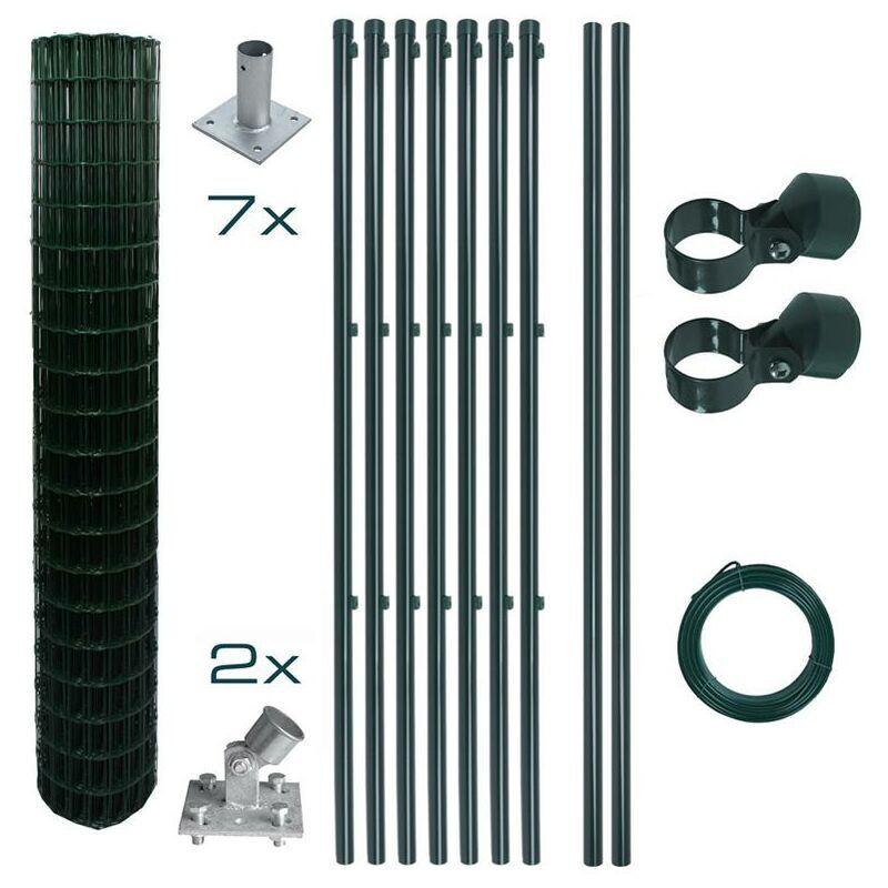 ESTEXO Set complet de clôture en treillis soudé 1,50 x 10m Set de clôture de jardin