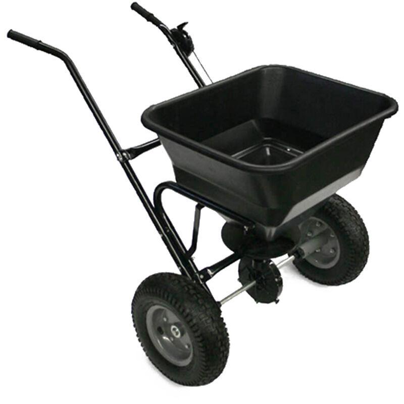 WILTEC Epandeur d'engrais 30kg, semences, sable ou sel avec pneus à air