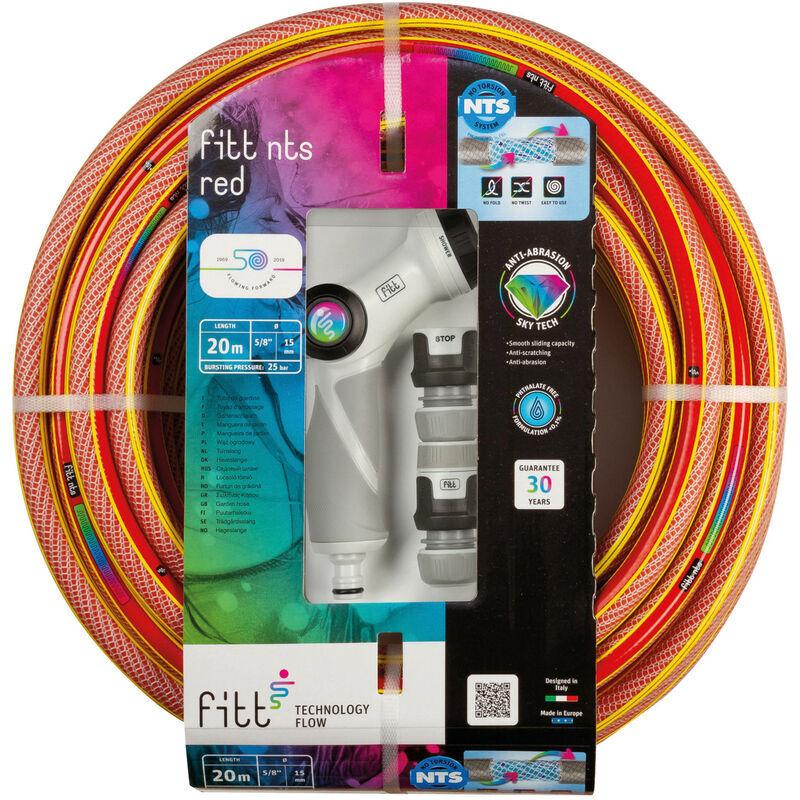 FITT NTS Red 5/8' 20m Kit avec Accessoires – Tuyau d'arrosage de jardin solide et malléable rouge vif pour une utilisation intensive fourni avec pistolet