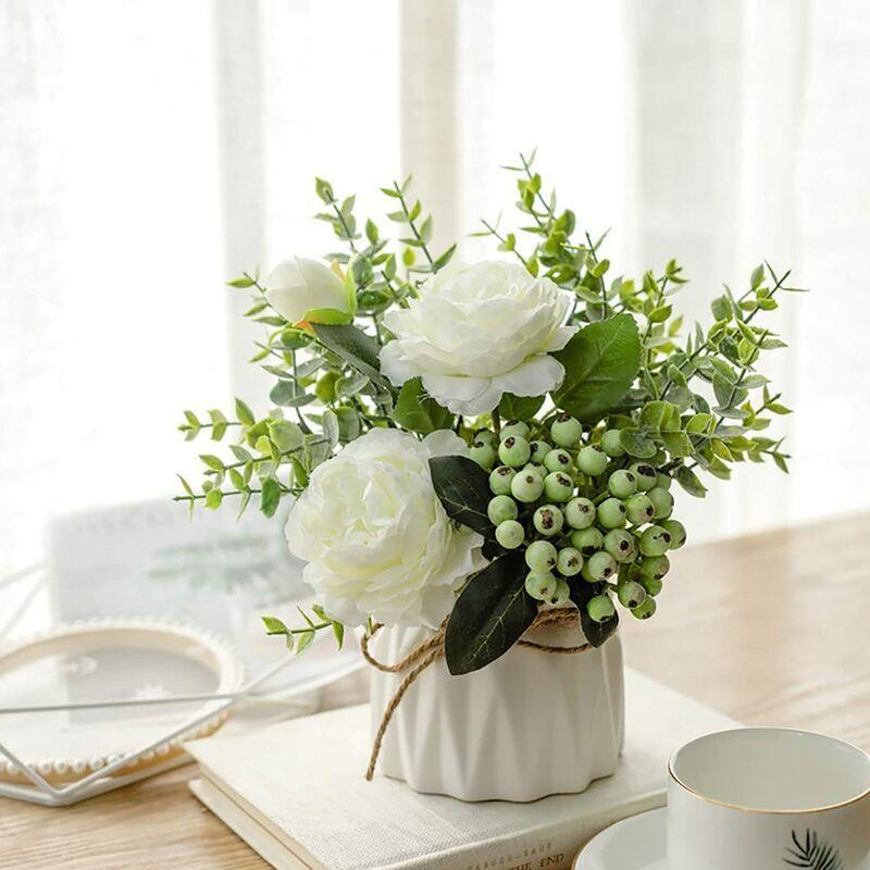 ECHOO Fleurs artificielles avec vase en céramique - Rose artificielle - Panier de fleurs pour mariage, balcon, chambre à coucher, salle de bain,Blanc