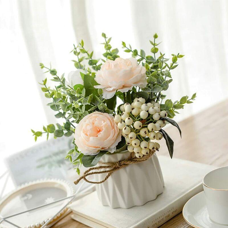 ECHOO Fleurs artificielles avec vase en céramique - Rose artificielle - Panier de fleurs pour mariage, balcon, chambre à coucher, salle de bain,Champagne