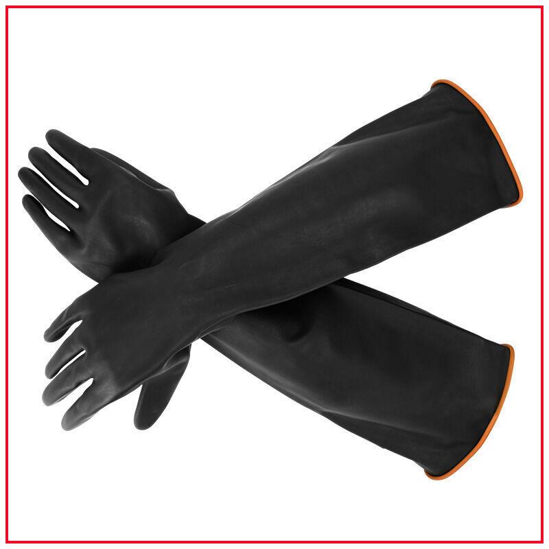 TRIOMPHE Gants en Latex résistant aux Produits Chimiques en Caoutchouc résistant à la sécurité Industrielle, Gants de Protection Longs, Gants Robustes noirs1