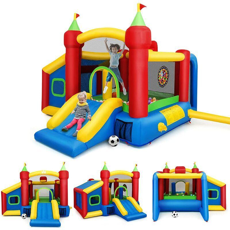 GOPLUS Ch?teau Gonflable pour Enfant de 3 à 10 Ans,avec 6 Types de Jeu Différents en Tissu Oxford, 6 Piquets de Fixation et Un Sac de Transportation,