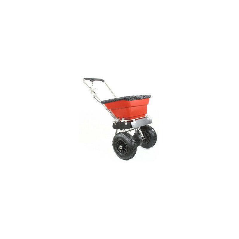 Épandeur de sel à pousser avec châssis inox d'une capacité maximale de 36 kg , pneus 12'' avec Chamb