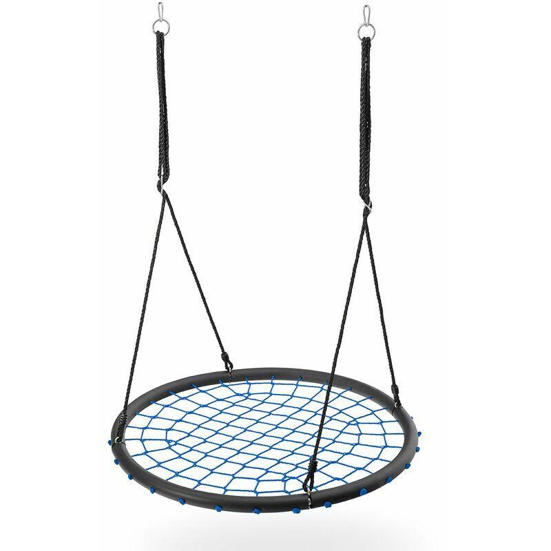 Hucoco - HMSPORT - Balançoire nid d'oiseau - Assise ronde 100 cm de diamètre - Pour les enfants et les adultes - Plein air - Bleu