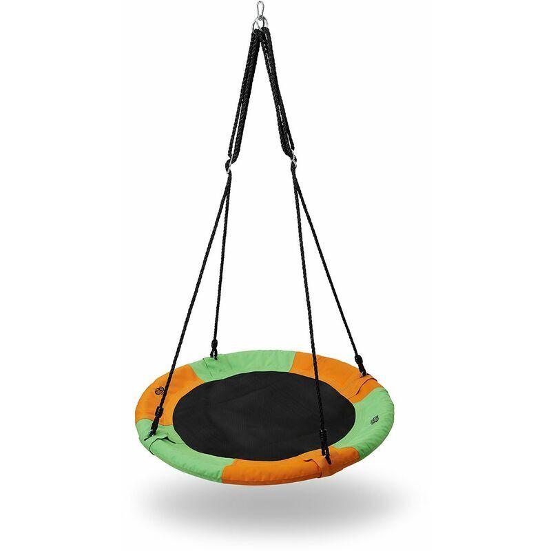 Hucoco - HMSPORT - Balançoire nid d'oiseau - Diamètre d'assise de 90 cm - Pour les enfants et les adultes - Jeux de plein air - Multicolore