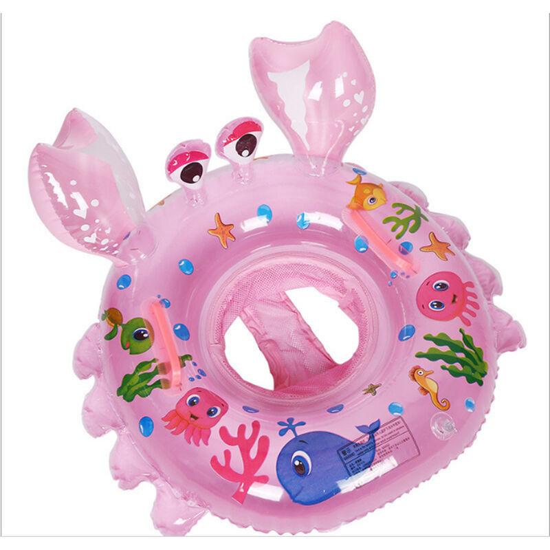 ILOVEMILAN Anneau de natation bébé, siège de piscine crabe, anneau de natation gonflable, cadeau jouet piscine bébé adapté aux bébés de 6 à 48 mois, rose