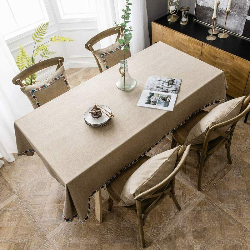 ILoveMilan Nappe rectangulaire en coton et lin, nappe imperméable moderne simple de couleur pure, nappe de cuisine à domicile (marron, 140*220cm)