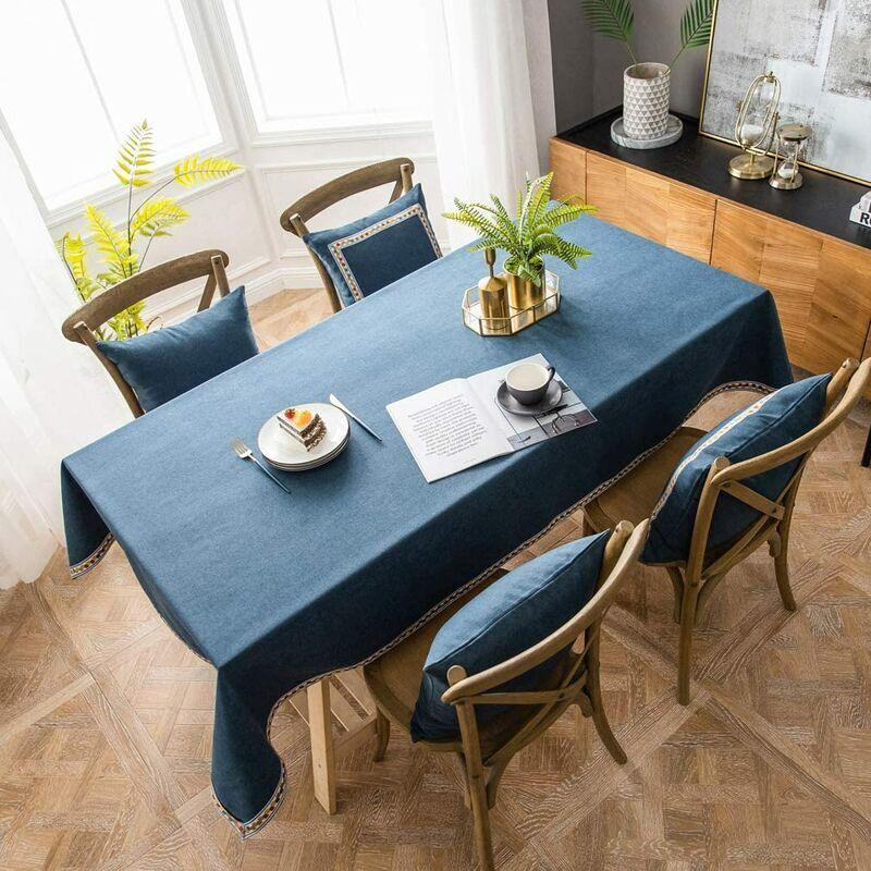 ILoveMilan Nappe rectangulaire en coton et lin, nappe imperméable moderne simple de couleur pure, nappe de cuisine à domicile (bleu, 140*160cm)