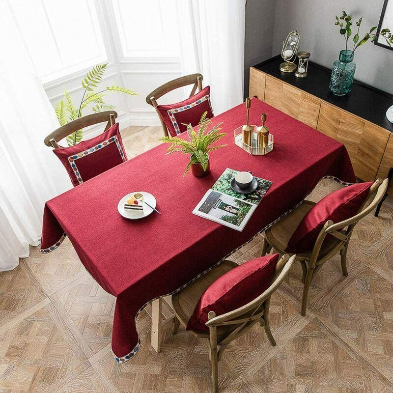 ILoveMilan Nappe rectangulaire en coton et lin, nappe imperméable moderne simple de couleur pure, nappe de cuisine à domicile (vin rouge, 140*220cm)