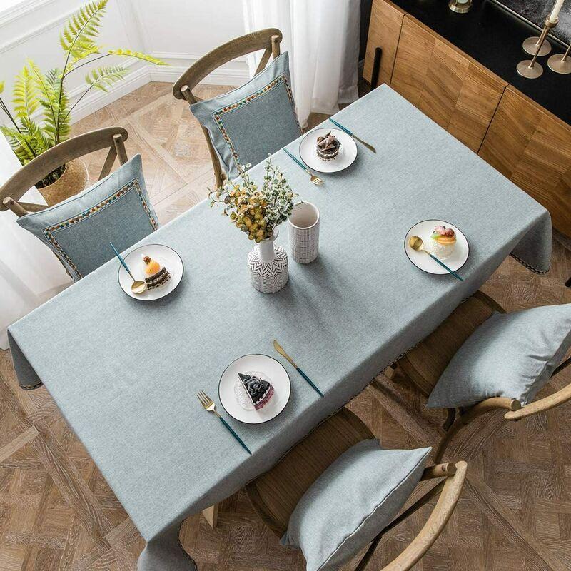 ILoveMilan Nappe rectangulaire en coton et lin, nappe imperméable moderne simple de couleur pure, nappe de cuisine à domicile (gris, 140*200cm)