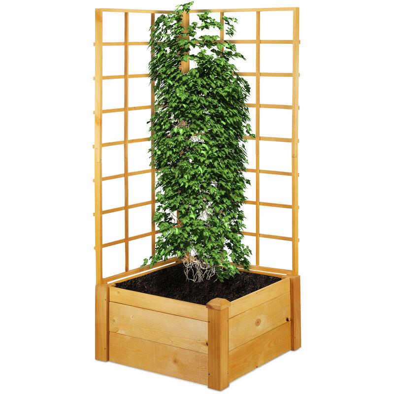 RELAXDAYS Jardinière avec treillis, bac à fleurs rectangulaire, tuteur, carré potager, HxLxP: 151 x 67 x 66 cm, nature