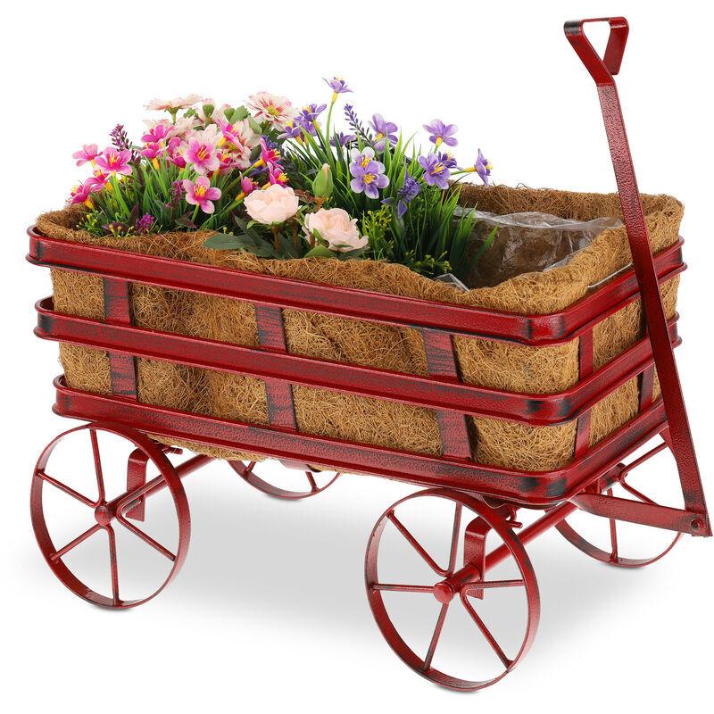 RELAXDAYS Jardinière décorative, déco de jardin, fond en coco, bac à fleurs, acier, H x L x P 42,5 x 46,5 x 26 cm, rouge