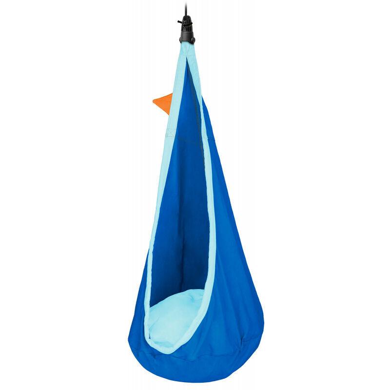 La Siesta - Joki Dolphy - Nid-hamac enfant en coton bio avec fixation - Bleu / turquoise