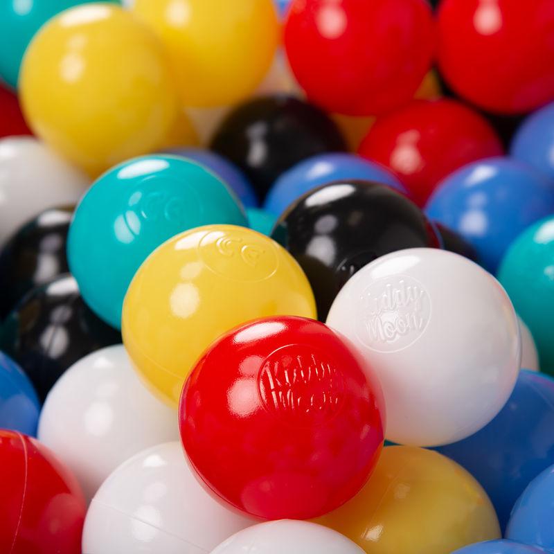KiddyMoon 1200/6Cm ? Balles Colorées Plastique Pour Piscine Enfant Bébé Fabriqué En EU, Noir/Blanc/Bleu/Rouge/Jaune/Turquoise