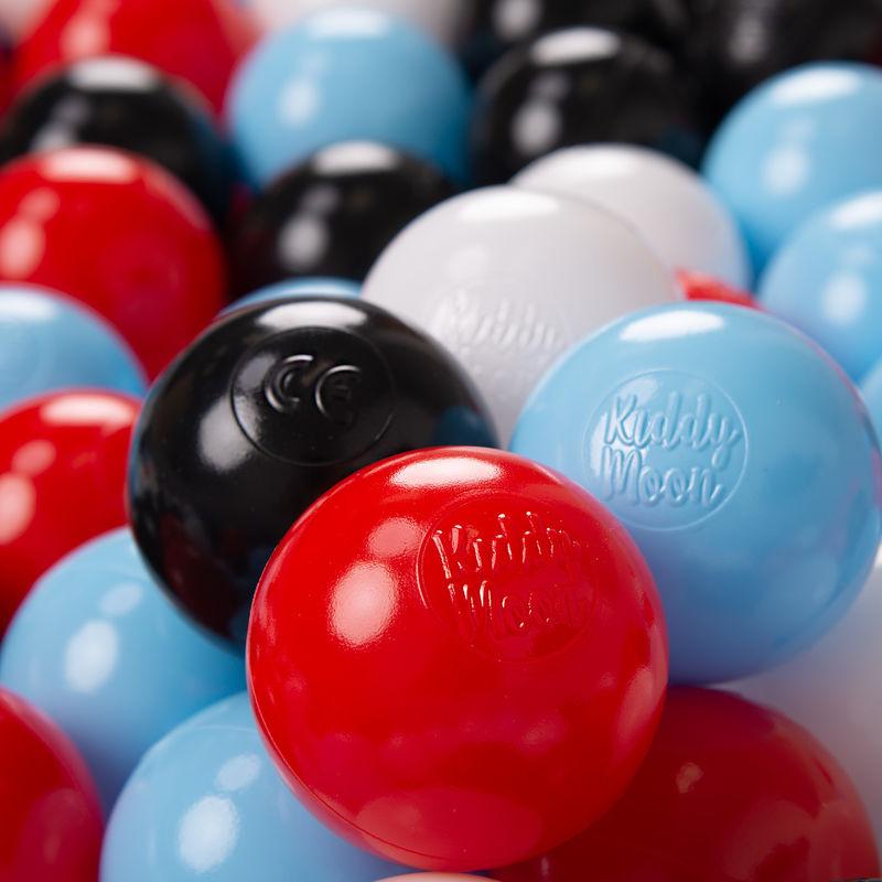 KIDDYMOON 1200/6Cm ? Balles Colorées Plastique Pour Piscine Enfant Bébé Fabriqué En EU, Noir/Blanc/Rouge/Baby Blue - Kiddymoon