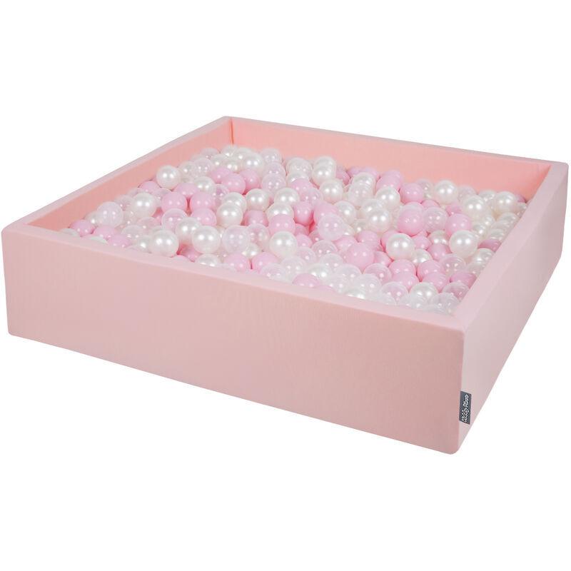 KiddyMoon 120X30cm/1000 Balles ? 7Cm Carré Piscine À Balles Pour Bébé Fabriqué En UE, Rose:Rose Poudré-Perle-Transparent