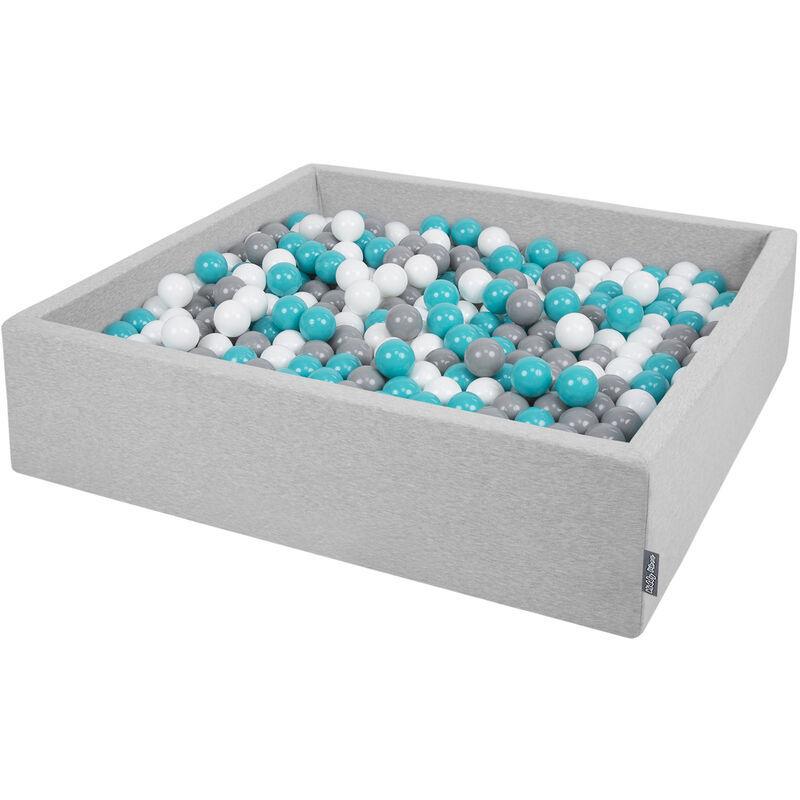 KiddyMoon 120X30cm/1000 Balles ∅ 7Cm Carré Piscine À Balles Pour Bébé Fabriqué En UE, Gris Clair:Gris-Blanc-Turquoise