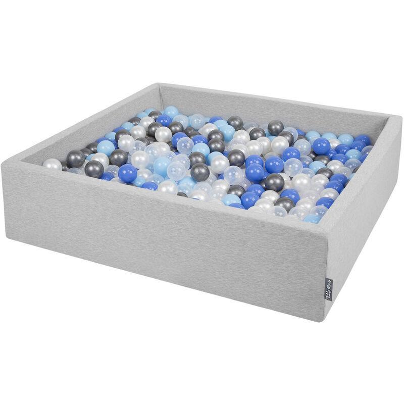 KIDDYMOON 120X30cm/1000 Balles ? 7Cm Carré Piscine À Balles Pour Bébé Fabriqué En UE, Gris Clair:Perle-Bleu-Babyblue-Transparent-Argent - Kiddymoon
