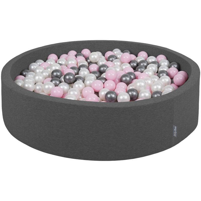 KIDDYMOON 120X30cm/1000 Balles ? 7Cm Piscine À Balles Pour Bébé Rond Fabriqué En UE, Gris Foncé: Perle-Rose Poudré-Argent - Kiddymoon
