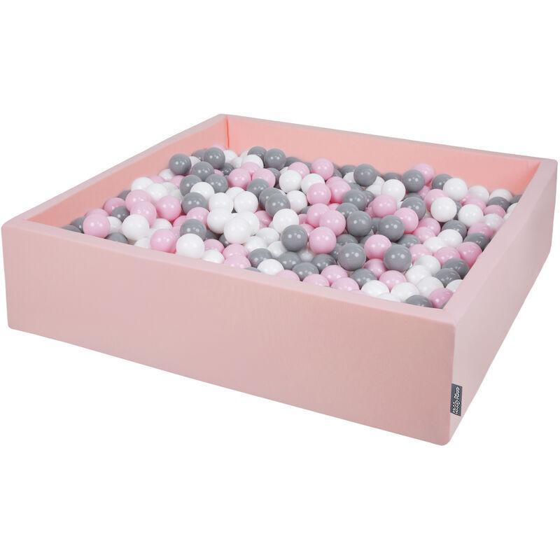 KiddyMoon 120X30cm/600 Balles ? 7Cm Carré Piscine À Balles Pour Bébé Fabriqué En UE, Rose:Blanc-Gris-Rose Poudré