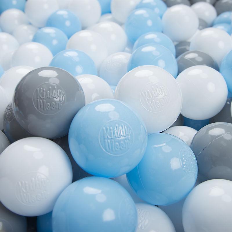 KIDDYMOON 300/6Cm ? Balles Colorées Plastique Pour Piscine Enfant Bébé Fabriqué En EU, Gris/Blanc/Babyblue/ - Kiddymoon