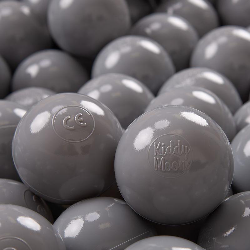 KIDDYMOON 300 ? 7Cm Balles Colorées Plastique Pour Piscine Enfant Bébé Fabriqué En EU, Gris - Kiddymoon