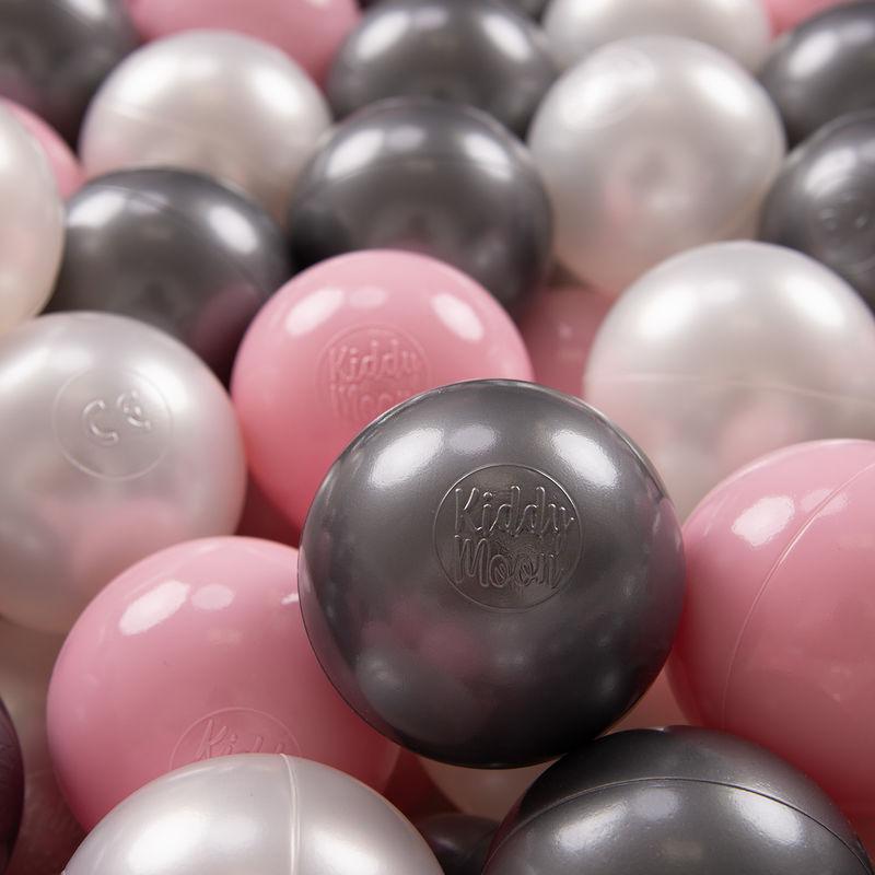 KIDDYMOON 300 ? 7Cm Balles Colorées Plastique Pour Piscine Enfant Bébé Fabriqué En EU, Perle/Rose Poudré/Argenté - Kiddymoon