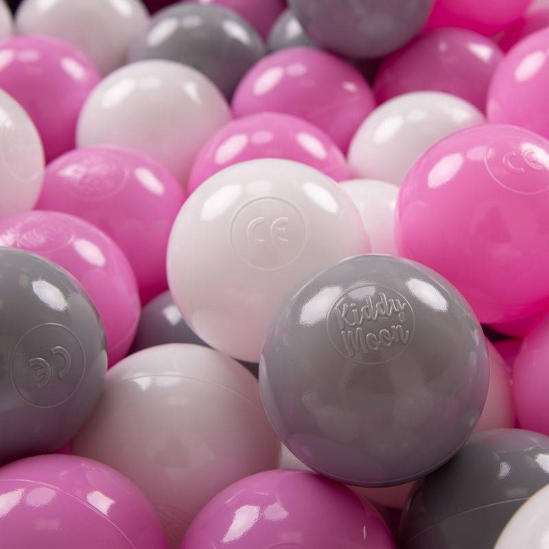 KiddyMoon 700 ? 7Cm Balles Colorées Plastique Pour Piscine Enfant Bébé Fabriqué En EU, Gris/Blanc/Rose