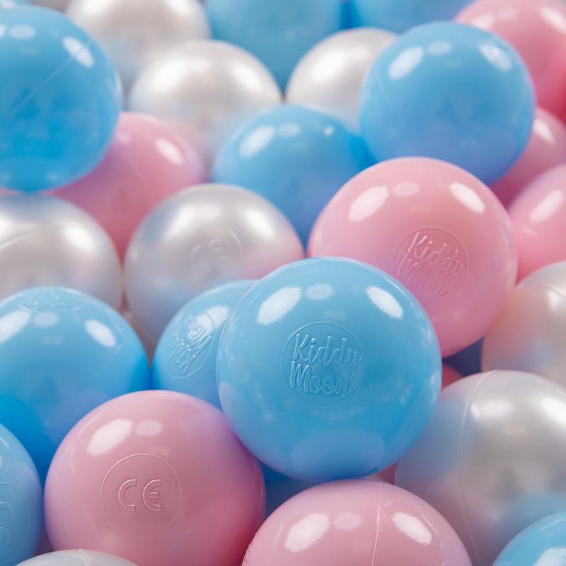 KIDDYMOON 700 ? 7Cm Balles Colorées Plastique Pour Piscine Enfant Bébé Fabriqué En EU, Baby Blue/Rose Poudré/Perle - Kiddymoon