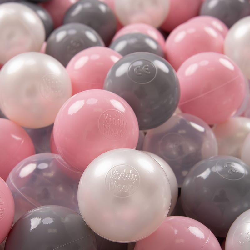 KIDDYMOON 700 ? 7Cm Balles Colorées Plastique Pour Piscine Enfant Bébé Fabriqué En EU, Perle/Gris/Transparent/Rose Poudré - Kiddymoon