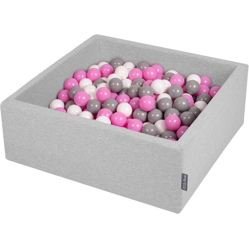KiddyMoon 90X30cm/200 Balles ? 7Cm Carré Piscine À Balles Pour Bébé Fabriqué En UE, Gris Clair:Gris/Blanc/Rose