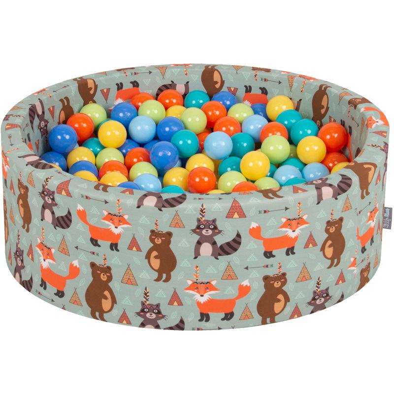 KiddyMoon 90X30cm/200 Balles ? 7Cm Piscine À Balles Pour Bébé Rond Fabriqué En UE, Renard-Vert: Vert Cl/Orange/Turq/Bleu/Babybl/Jaune