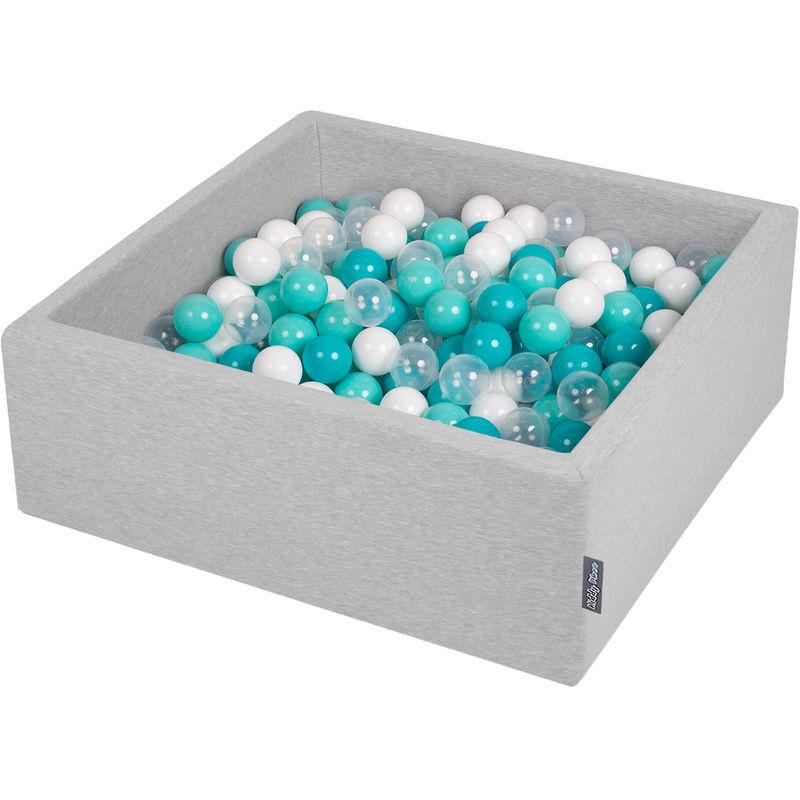 KiddyMoon 90X30cm/300 Balles ? 7Cm Carré Piscine À Balles Pour Bébé Fabriqué En UE, Gris Clair:Turquoise Clair/Blanc/Transparent/Turq.