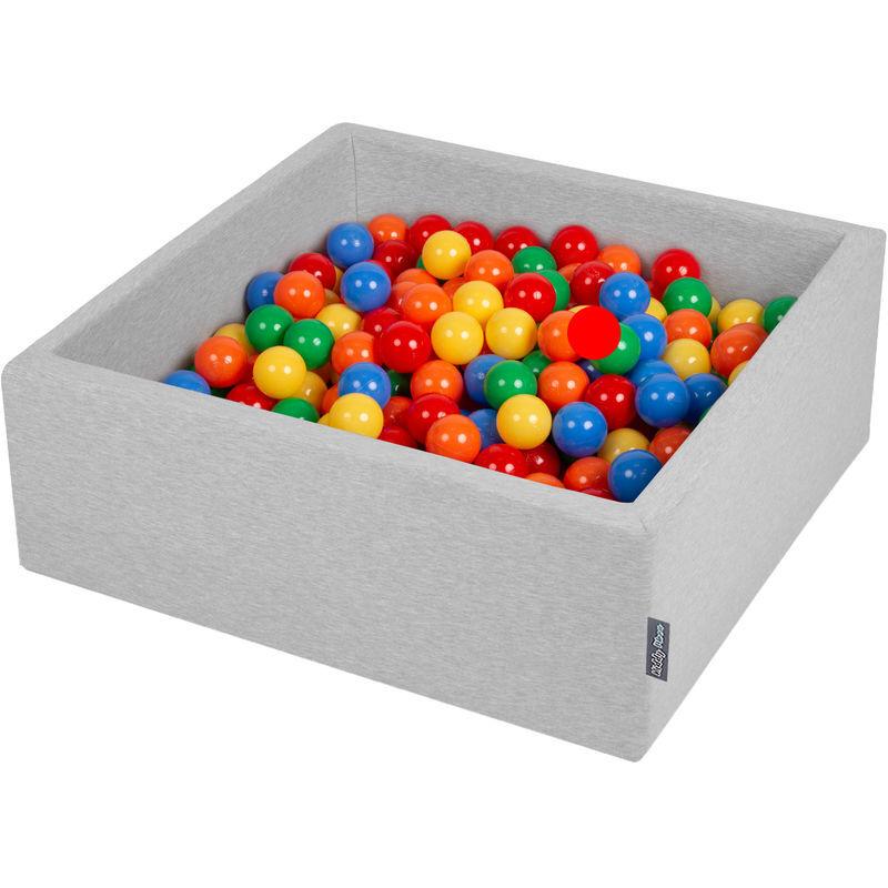 KIDDYMOON 90X30cm/300 Balles ? 7Cm Carré Piscine À Balles Pour Bébé Fabriqué En UE, Gris Clair: Jaune/Vert/Bleu/Rouge/Orange - Kiddymoon