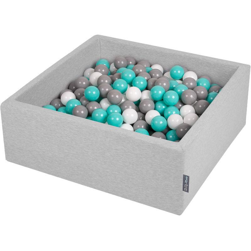 KIDDYMOON 90X30cm/300 Balles ? 7Cm Carré Piscine À Balles Pour Bébé Fabriqué En UE, Gris Clair: Blanc/Gris/Turquoise Clair - Kiddymoon