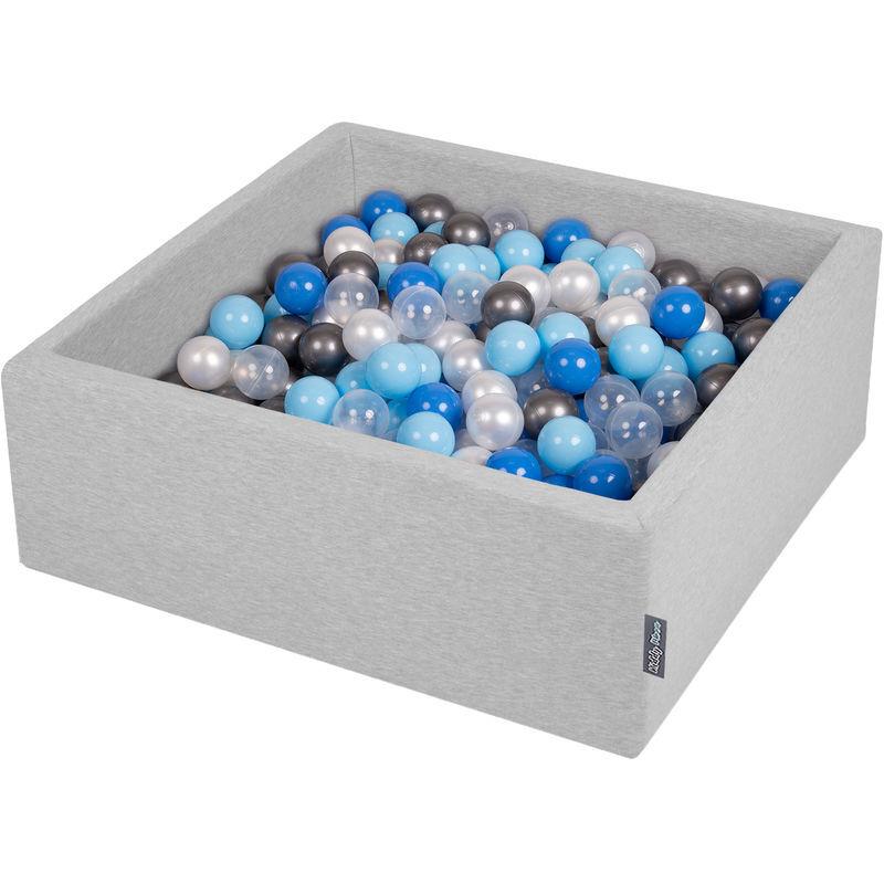 KiddyMoon 90X30cm/300 Balles ? 7Cm Carré Piscine À Balles Pour Bébé Fabriqué En UE, Gris Clair: Perle/Bleu-Babyblue/Transparent/Argent