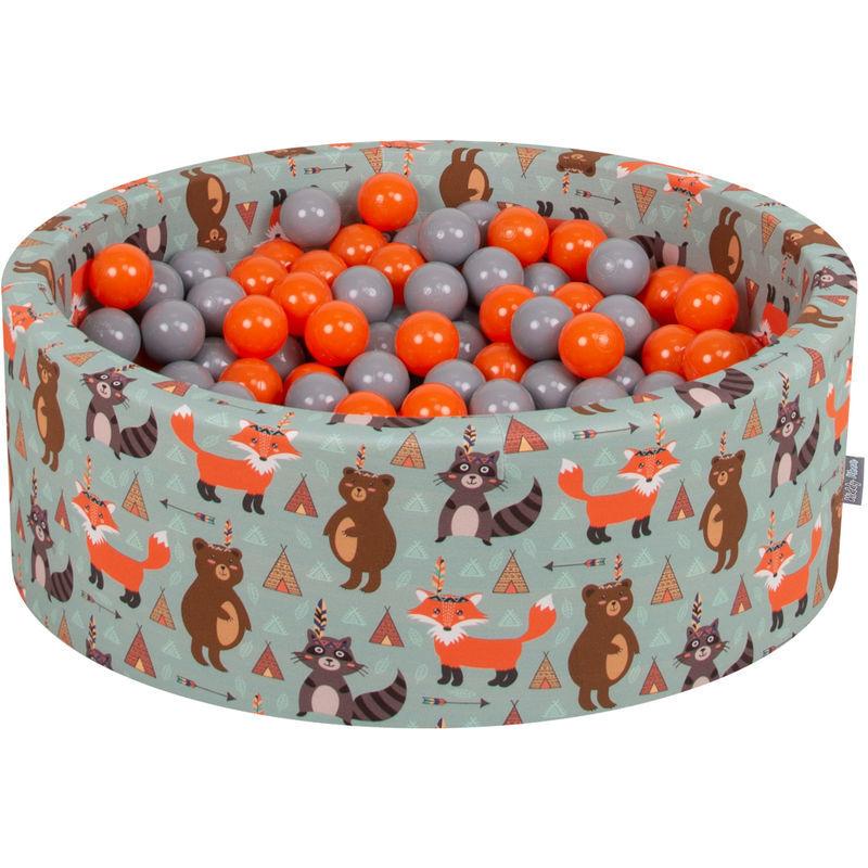 KiddyMoon 90X30cm/300 Balles ? 7Cm Piscine À Balles Pour Bébé Rond Fabriqué En UE, Renard-Vert:Orange/Gris